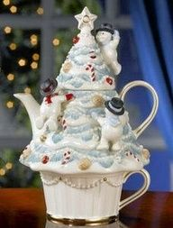 Lenox Snowman Christmas Tree tea for one stacking teaset (teapot and cup): teapot in shape of white Chrismas tree being climbed by small snowmen, with cup forming the base of the tree, bone china, USA Lenox Christmas, Christmas China, Christmas Dishes, Christmas Snowman, Christmas Holidays, Tea Cup Saucer, Tea Cups, Holiday Dinnerware, Teapots Unique