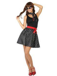 50er Jahre Kostüm-Set für Damen Rockabilly Outfit Rock/'n/'Roll Rockabella Schmuck