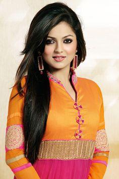 Madhubala Ek Ishq Ek Junoon Fame Drashti Dhami in Orange Color Dress Indian Tv Actress, Beautiful Indian Actress, Pink Floral Maxi Dress, Aunty In Saree, Drashti Dhami, Beautiful Girl Photo, Beautiful Women, Kurti Designs Party Wear, Dress Indian Style