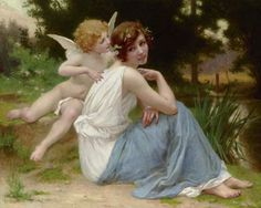 """WILLIAM ADOLPHE BOUGUEREAU (1825-1905) """"WHISPERINGS OF LOVE, 1889"""""""