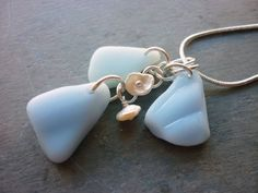 Sea Glass Necklace  Blue Beach Seaglass Trio