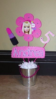 Barbie Themed Centerpiece by SimplyCelebratebyMay on Etsy, $51.99