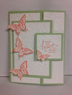 Butterfly gate fold card, love the soft colors