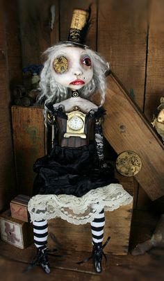 Steampunk Souls Mixed Media OOAK Art Doll by michelelynchart, $245.00