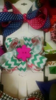 Pink and green $3.00 Pink and blue polka dot $3.00
