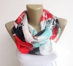 bohemian scarf ,spring summer fashion scarf ,infinity scarf ,women circle scarf , chiffon eternity scarf , floral print scarf on Etsy, $18.90