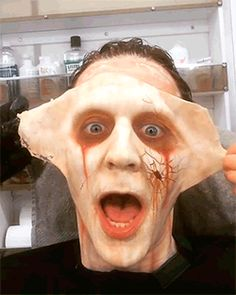 "David Marti (Special fx make-up artist): ""Tom after a long shooting day. CRIMSON PEAK shooting May 2014."" Video: https://www.instagram.com/p/BBnYliWmQxp/"
