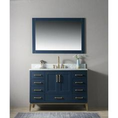 Gracie Oaks Motta Single Bathroom Vanity Set with Mirror Base Finish: Blue Home Depot Bathroom Vanity, Single Bathroom Vanity, Master Bathroom, Carrara Marble Countertop, Soft Closing Hinges, Square Sink, Mirror Backsplash, Vanity Set With Mirror, Mirrors Wayfair