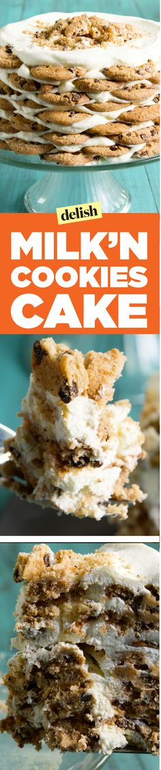 This milk n' cookies cake is the adult version of your favorite childhood treat… Icebox Desserts, Icebox Cake Recipes, Frozen Desserts, Unique Desserts, Fun Desserts, Delicious Desserts, Yummy Recipes, New Dessert Recipe
