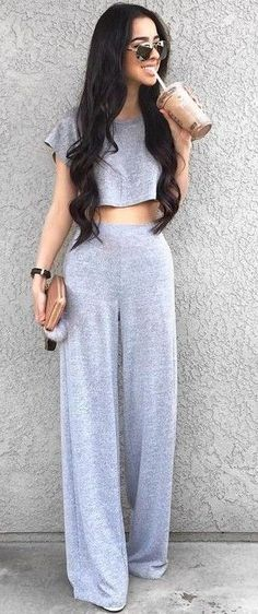 #Summer #Outfits / Grey Crop Top - Wide Length Grey Pants
