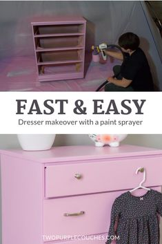Amazing before and after dresser makeover done with a Paint Sprayer. DIY orchid purple dresser makeover for a baby girl's nursery. I partnered with Wagner SprayTech to create this dresser. #furnituremakeover #paintedfurniture #paintsprayer #babygirlnursery #nurseryfurniture #girlnursery