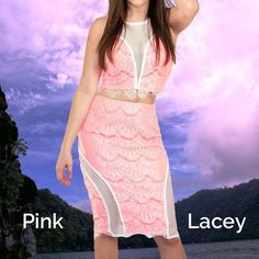 Pink & White Lace Top & Skirt White fishnet down front of top and down sides  of skirt. Full zipper down back of top.  Pink & white lace . VO Jeans Skirts