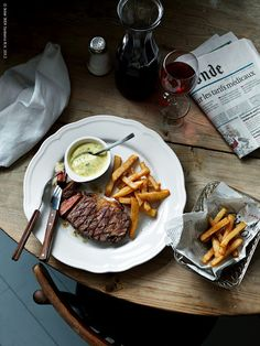 French Fries with Steak & a glass of red wine.