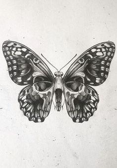 Skull Butterfly Tattoo, Moth Tattoo, Skull Tattoo Design, Tattoo Design Drawings, Tattoo Sketches, Tattoo Designs, Vintage Butterfly Tattoo, Realistic Butterfly Tattoo, Small Skull Tattoo