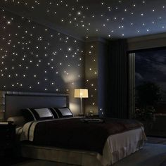 Use glow in the dark paint to paint dots on the ceiling so at night it looks like stars -- even put the stars in constellation form!