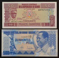 Numismática: Cédulas Estrangeiras, Banco Central da República de Guiné, 50 Francos de 1985 e Banco C