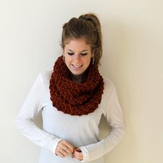 Hey, I found this really awesome Etsy listing at https://www.etsy.com/listing/162760571/knit-chunky-scarf-cowl-orange-pokomoke