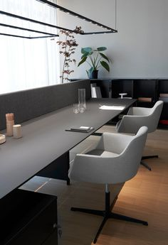 The high care for the details and the selected new natural materialssuch as frosted graphite lacquered glass and tactile oak wood finishingmakes K_Word workplaces. Word Table, Smart Materials, Nanotechnology, Light Reflection, Beams, Minimalism, Bookcase, Dining Table, Interior Design