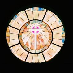 Stained glass over doorway at Blountsville Methodist Church Sanctuary