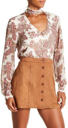 WAYF Pennywise Sheer Floral Blouse