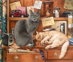 """Anna & Ted"" Workaday Cats / Geoffrey Tristram"