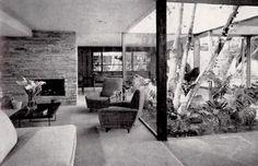 Vista interior, casa en Del Carmen, calle Del Carmen 70, Chimalistac, Álvaro Obregón, Mexico DF 1953    Arq. Francisco Artigas -    Interior view of a house on Del Carmen, Chimalistac, Mexico Cit