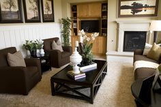 Here's an exercise in contrasts, with light shag carpeting set under dark brown seating and black coffee table.