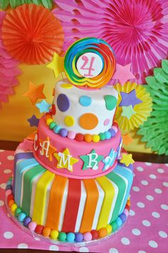 This is a great cake that seems to combine ideas. Since we're doing a rainbow and flower garden, I thought this was potentially a good approach. I don't think we'd need three layers - two should be enough. Colorful Birthday, Rainbow Birthday Party, Carnival Birthday Parties, Pig Birthday, Circus Birthday, Circus Party, Birthday Ideas, Cupcakes, Carnival Cakes