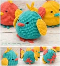 Jouet d'oiseaux oiseaux joyeux crocheté Pâques par SmallDreamers