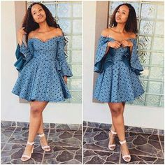 Blue off shoulder African Print Ankara Dashiki Seshoeshoe Seshweshwe Dress - African Fashion Dresses - 2019 Trends African Fashion Designers, African Fashion Ankara, Latest African Fashion Dresses, African Print Dresses, African Dresses For Women, African Print Fashion, Africa Fashion, African Attire, African Women