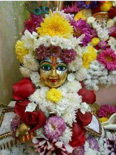 Ladoo Gopal, Interior Logo, Bhagavad Gita, Krishna Art, Hinduism, Wall Art Designs, Deities, Floral Wreath, Wreaths