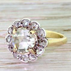Victorian 1.64 Carat Rose Cut Diamond Cluster Ring, circa 1860 by GatsbyJewels on Etsy https://www.etsy.com/listing/251325898/victorian-164-carat-rose-cut-diamond