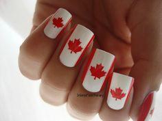 Happy Canada Day!! Red Nails, Hair And Nails, Blue Nail, Nail Polish Designs, Nail Art Designs, Spring Nails, Summer Nails, Nails 2017 Trends, Orchid Nails