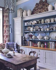 Instagram Kitchen Design, Kitchen Decor, Kitchen Dresser, Nice Kitchen, Kitchen Interior, Deco Champetre, Blue Rooms, Blue Walls, French Country Decorating