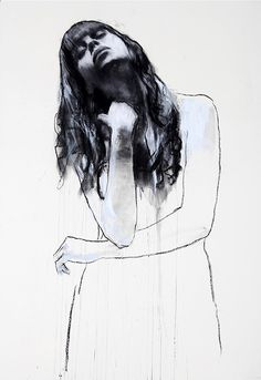 From a single stroke starting from the bottom of the sheet, the artist Mark Demsteader gives shape to elegant intriguing feminine figures. Mark Demsteader, Figure Painting, Figure Drawing, Painting & Drawing, Female Portrait, Portrait Art, Portraits, Life Drawing, Contemporary Paintings