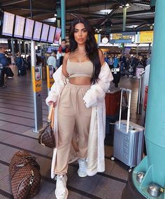 Meshki Kaiya Thin Strap Scoop Neck Crop Top - Almond You are in the right place about airport outfit Cute Comfy Outfits, Sporty Outfits, Mode Outfits, Chic Outfits, Trendy Outfits, Fashion Outfits, Comfy Travel Outfit, Fashion Clothes, Fashion Ideas