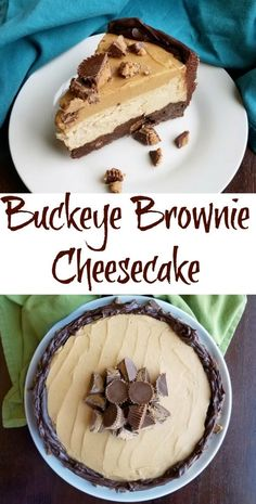 Buckeye Cheesecake With a Brownie Crust, Desserts, Chocolate and peanut butter lovers rejoice, the perfect cheesecake is finally here. Layer after layer of goodness, it's so good it's hard to stop eati. Köstliche Desserts, Delicious Desserts, Dessert Recipes, Yummy Food, Healthy Food, Healthy Meals, Soup Recipes, Healthy Eating, Cooking Recipes