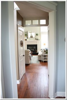 Pretty door moldings and transom in the hallway