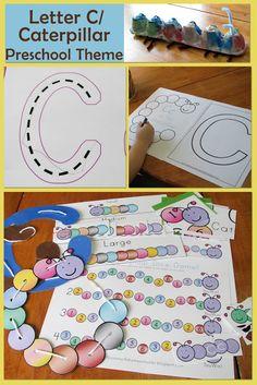 Mommy's Little Helper: Letter C/Caterpillar Preschool Theme Preschool Letters, Preschool Themes, Preschool Lessons, Preschool Classroom, Preschool Activities, Kindergarten, Alphabet Crafts, Letter A Crafts, Pre K Activities