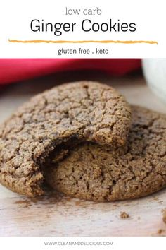 These delicious ginger cookies are perfect for holiday baking, plus they're gluten free and keto, too! Healthy Gluten Free Recipes, Delicious Recipes, Yummy Food, Healthy Christmas Recipes, Clean And Delicious, Low Carbohydrate Diet, Ginger Cookies, Gluten Free Cookies