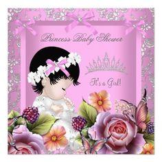 Princess Baby Shower Girl Pink Rose Tiara Damask Invitation Zazzle Com In 2020 Elegant Baby Shower Invitation Baby Shower Princess Princess Baby Shower Invitation