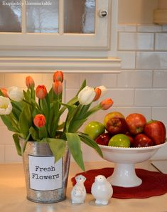 Fresh Flowers In A Metal Bucket