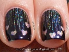 Hearts on nails #black #pink #hearts #glitter #nailpolish  #nailart #nails - bellashoot.com
