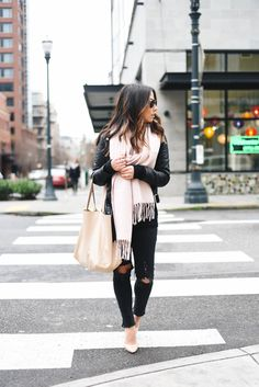 H&M sweater, Zara jacket, AG jeans, Topshop scarf, Charles by Charles David pumps, Cuyana shopper tote, David Yurman ring