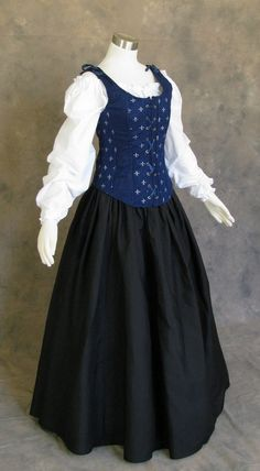 Navy Blue and Black Renaissance Faire Wench Bodice Outfit | Etsy Medieval Dress, Renaissance Fair, Halloween Dress, White Long Sleeve, Wedding Gowns, Bodice, Navy Blue, Long Black, Lady