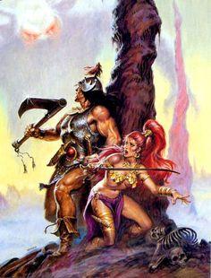 Conan and Red Sonja Conan The Destroyer, Conan Comics, The Lone Ranger, Conan The Barbarian, Barbarian Woman, Sword And Sorcery, Red Sonja, Design Poster, Fantasy Warrior