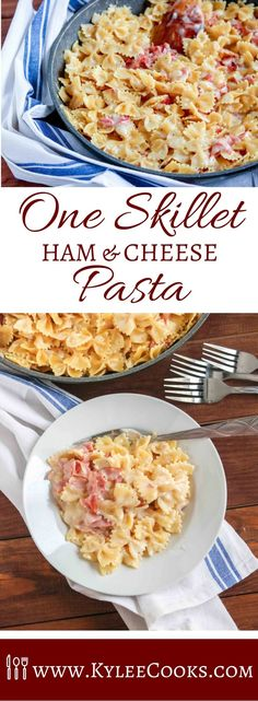 This One Skillet Ham & Cheese Pasta is a weeknight winner ready in less than 30 minutes that makes EVERYONE need seconds. Change up the pasta, and the cheese, but make it over and over! #pasta #dinner #weeknight #recipe #kyleecooks