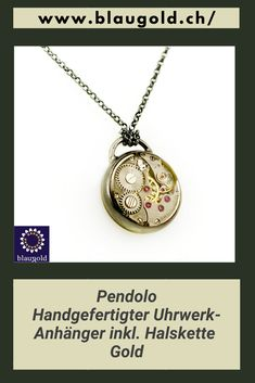 Der Anhänger wird inklusive Kette geliefert. #Clockworklove#Clockworknecklace#Bangles#Rings Gold Necklace, Pendant Necklace, Pocket Watch, Bangles, Clock, Vintage, Handmade, Accessories, Jewelry