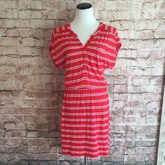 "Splendid Striped Dress Splendid red and white striped dress. Elastic waist. Buttons line the top front. 18""L (measured skirt elastic waist to hem). Good condition. Small. Splendid Dresses"
