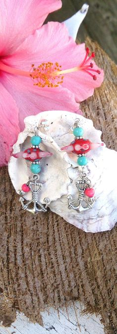 Turquoise Pink Flower Anchor Earrings by Secret Stash Boutique on Etsy